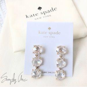 New Kate Spade Cubic Zirconia Gold Tone Earrings